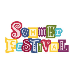 Summer festival with colorful outlines vector