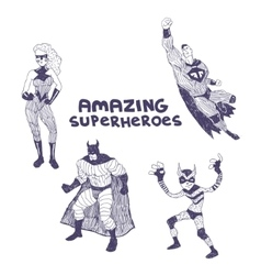 Superheros drawings set vector