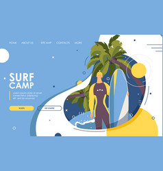 Surf camp landing page or banner male character vector