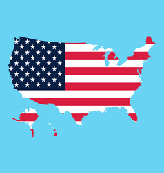 Usa map flag on a blue background vector