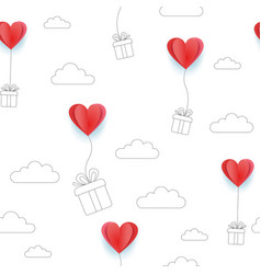 valentines hearts balloons with line art gift vector image