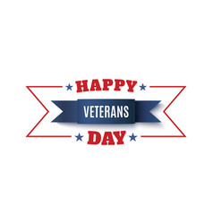 veterans day background blue ribbon isolated vector image