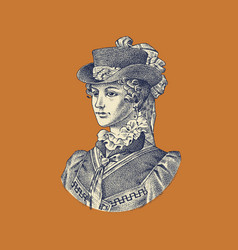 Victorian woman in a hat and dress elegant lady vector