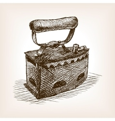 Vintage clothes iron sketch style vector