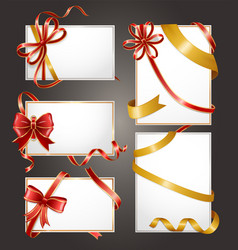 vouchers or gift cards blank icons with ribbons vector image