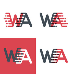 wa letters logo with accent speed pink and dark vector image