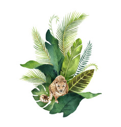 Watercolor card tropical leaves and leopard vector