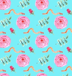 Watercolor rose and worm in vintage style vector