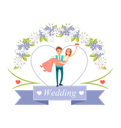 Wedding bride in grooms hands vector