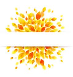 white paper stripe banner on orange autumn leaves vector image