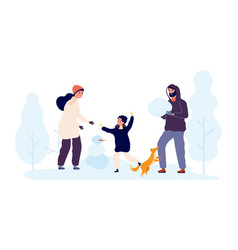 winter outdoor activity family build snowmen vector image