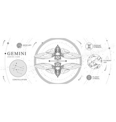 Witchcraft card with astrology gemini zodiac sign vector