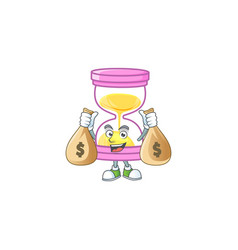 With money bag cartoon sandglass with character vector