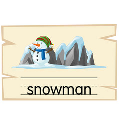 Wordcard template for word snowman vector
