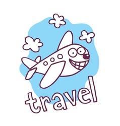 cute cartoon airplane mascot vector image