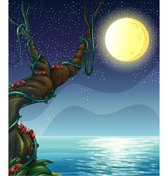 Moonlight Riverside Scene vector image