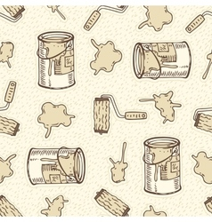 Seamless Pattern with Roller Brushes Paint vector image