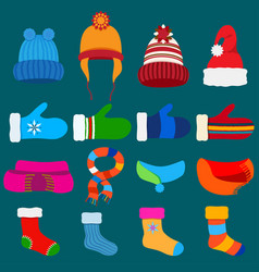 set of warm winter clothes vector image