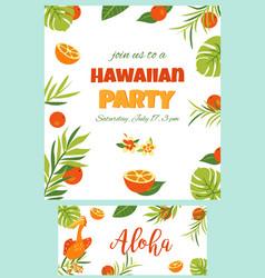 Tropical hawaiian poster with pelican vector