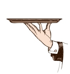 waiters hand holding a tray vector image