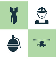 army icons set collection of rocket military vector image vector image