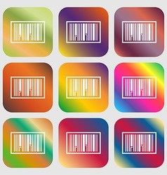 Barcode Icon Nine buttons with bright gradients vector image
