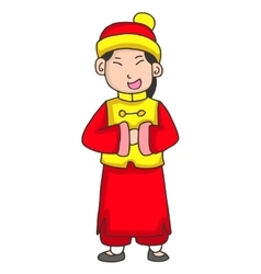 Character of girl greeting chinese new year vector