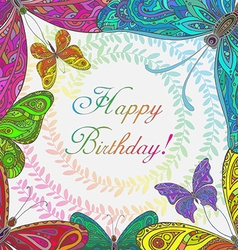 Colorful frame with butterflies vector image