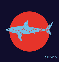 polygon blue shark on red background vector image