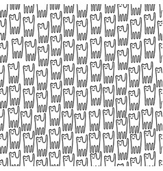 funny kitten hand drawn seamless pattern black vector image vector image