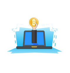 hand from laptop holds a bitcoin coin concept of vector image vector image