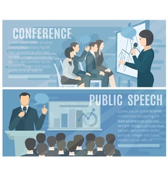 Public Speaking Flat Horizontal Banners Set vector image