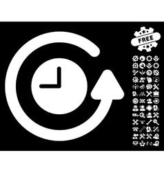 Restore clock icon with tools bonus vector