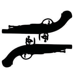 Two historical duel pistols vector image vector image