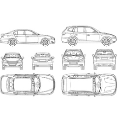 Car sedan and suv line draw four all view top side vector image vector image