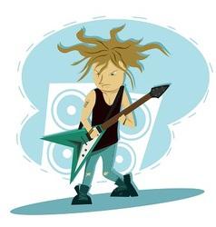 Hardcore guitar long hair player vector image vector image