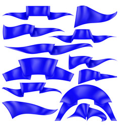 set of blue ribbons flag collection vector image vector image