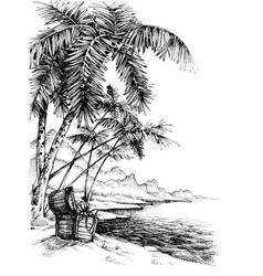 Treasure island sketch Beautiful palm trees on sea vector image vector image