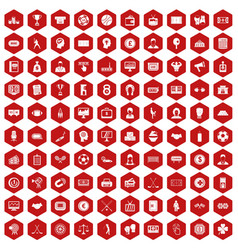 100 totalizator icons hexagon red vector image