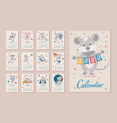 2020 year rat calendar vector