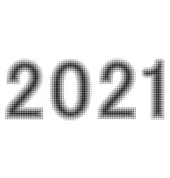 2021 new year christmas figures date halftone vector image