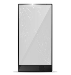 3d realistic broken screen smartphone with cracks vector image