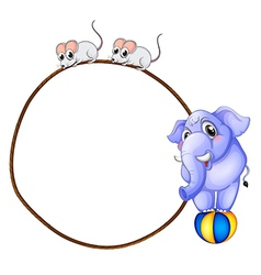 A round template with a blue elephant and playful vector