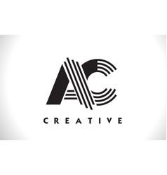 Ac logo letter with black lines design line letter vector