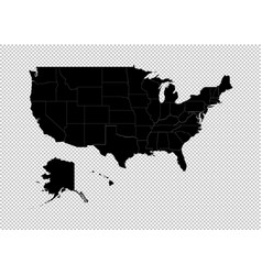 america map - high detailed black map with vector image