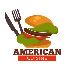 American cuisine titled burger knife and fork vector