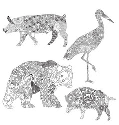 animals in ethnic patterns vector image