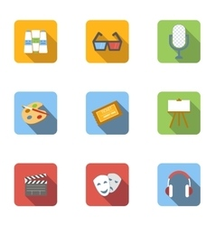 Art and creativity icons set flat style vector