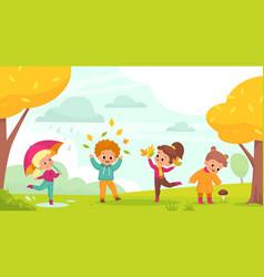 Autumn park walking happy kids play outdoor vector