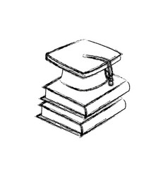 Back to school book graduation cap vector